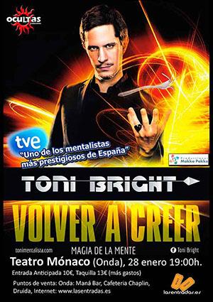 Actuación del mentalista Toni Bright en el Teatro Mónaco de Onda