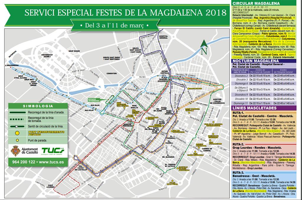 Mapa de transporte público durante la Magdalena 2018