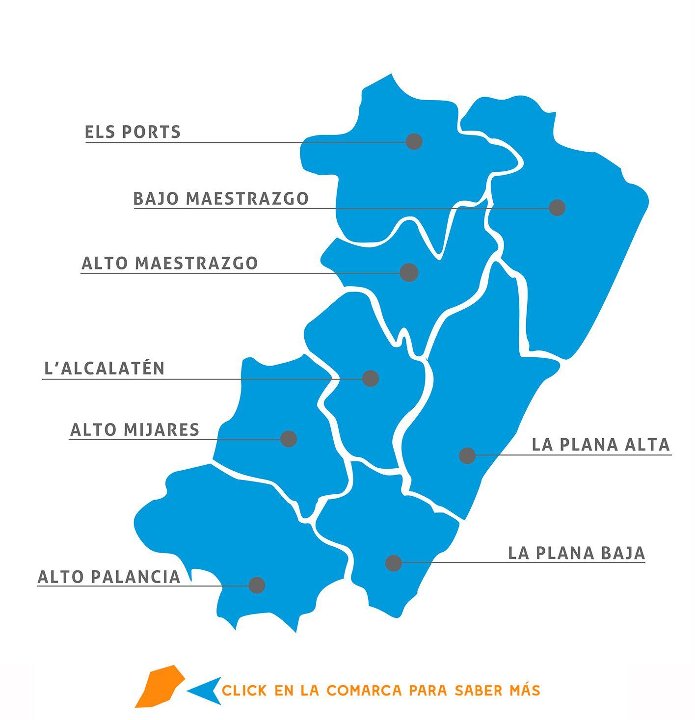 Provincia De Castellón Mapa.Comarcas De Castellon Castellon Virtual