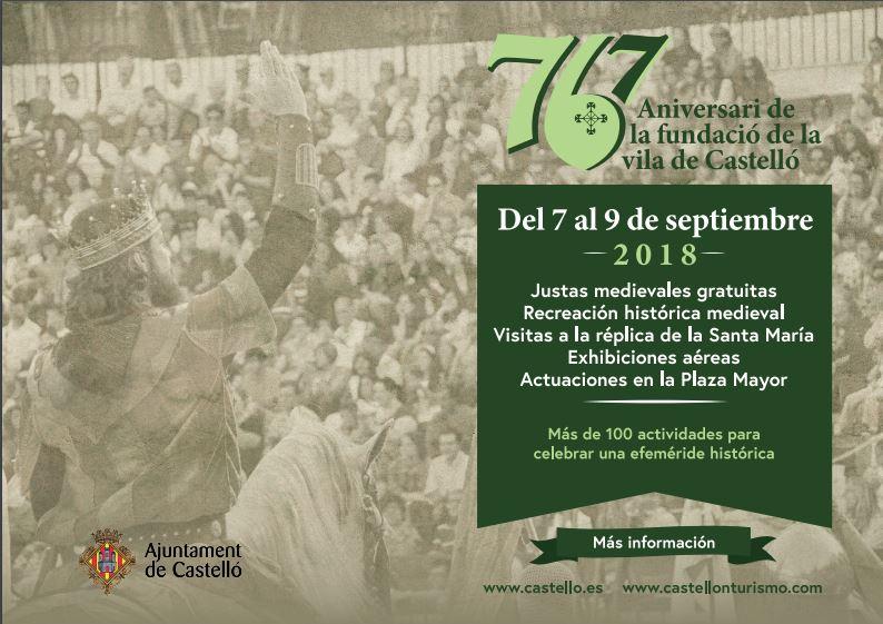 Este fin de semana Castellón celebra el 767º aniversario de la fundación de la ciudad