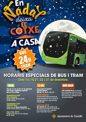 Cartel transporte urbano en Navidad