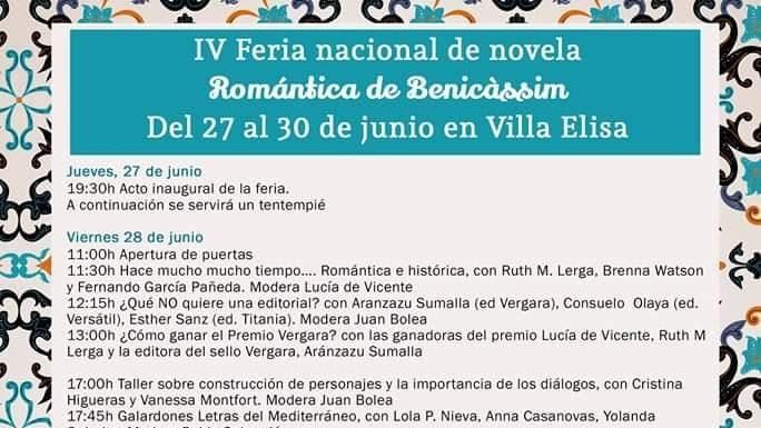 Programa de la Feria Nacional de Novela Romántica de Benicàssim