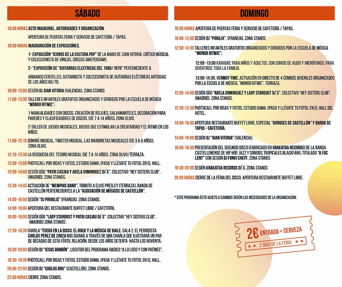 Programa de la 4ª Feria del Disco de Castellón