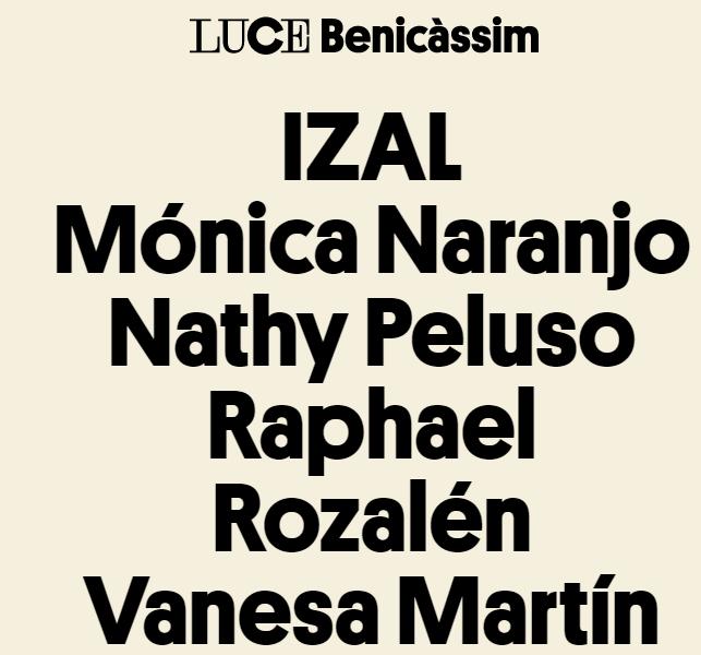 Luce Benicàssim, artistas