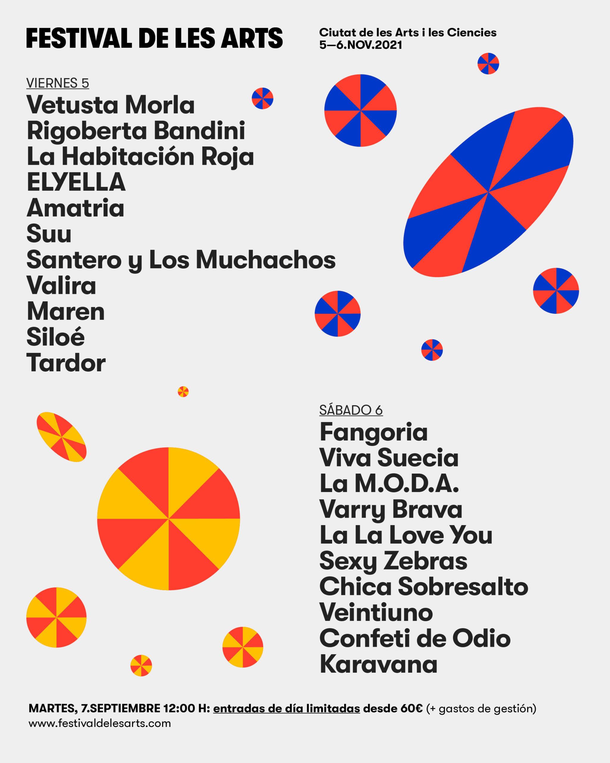 Confirmación de Artistas y Entradas de Día a la Venta  Festival de les Arts 2021